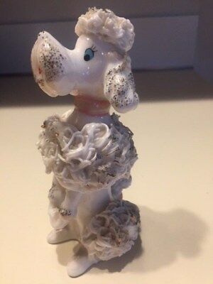 Vintage Spaghetti White Poodle Dog Figurine Female Lefton 064 Porcelain Collect
