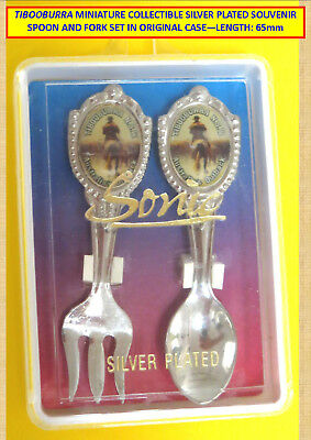 Vintage Boxed Collector Silver Plated Miniature Spoon & Fork Set Tibooburra, Nsw
