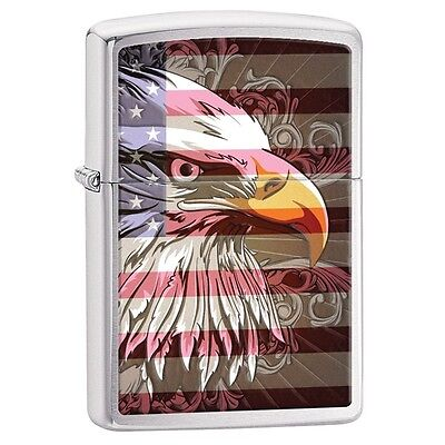 Zippo 28652, Eagle & USA Flag, Brushed Chrome Lighter, ***6 Flints/Wick***