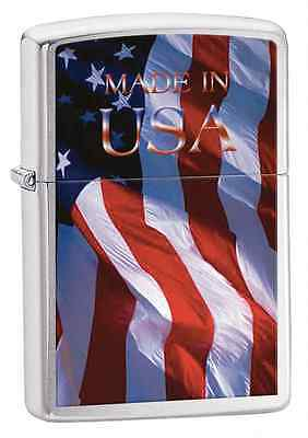Zippo 24797, USA Flag-Made in USA, Brushed Chrome Finish Lighter, Full Size