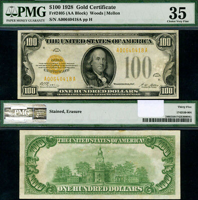 FR. 2405 $100 1928 Gold Certificate A-A Block Choice PMG VF35 Scarce