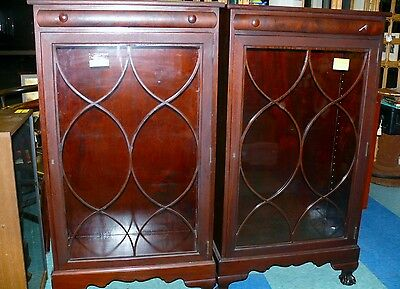 Pair Antique Art Deco Bookcase Lawyer w/Shelves Display Cabinet Glass Door