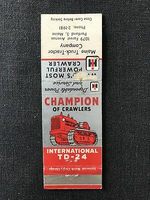 Vintage International Harvester Tractors Matchbook Portland Maine Crawler