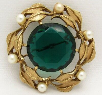 Vintage Viridian Blue Green Glass Stone Faux Pearl Gold Tone Leaf Brooch Pendant