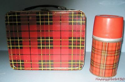 Vintage 1964 King Seeley Thermos Brand Plaid Red and Black Lunchbox