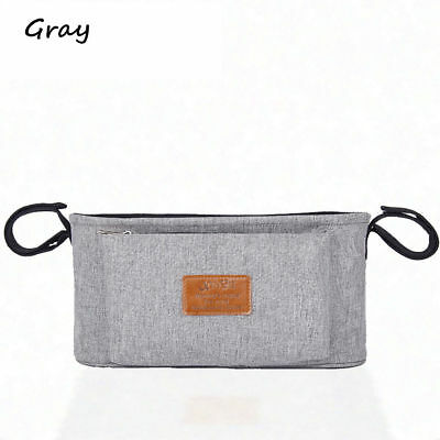 Baby Pram Stroller Pushchair Safe Console Cup Holder Organizer Hanging Bags Gray