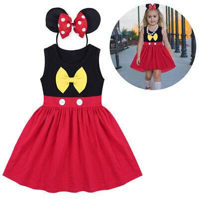 Baby Girls Mickey Cosplay Birthday Fancy Costume Summer Dress Tutu Ears Outfit