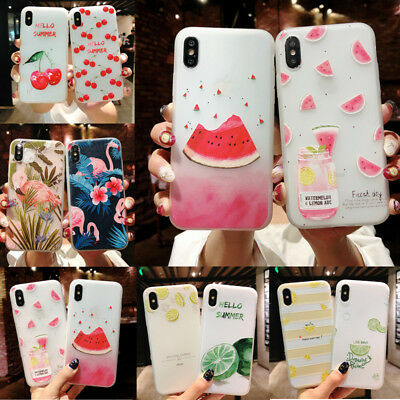 For iPhone X 8 6s 7 Plus 6 Cute Fruits Pattern Slim Relief Matte Soft Case Cover