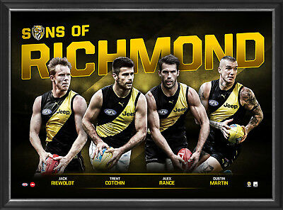 Sons of Richmond 2018 LE Official AFL Print Framed Martin Cotchin Rance Riewoldt
