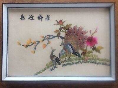 Signed Embroidered Chinese Asian Framed Silk Embroidery Birds Peacocks in Tree 2