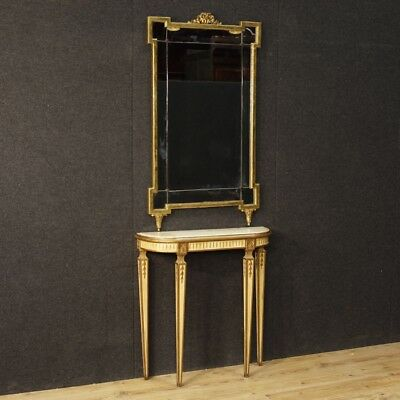 Console mirror French table lacquered wood antique style Louis XVI 900