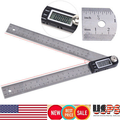 Electronic Digital Protractor Goniometer Angle Finder LCD Stainless Steel Gauge