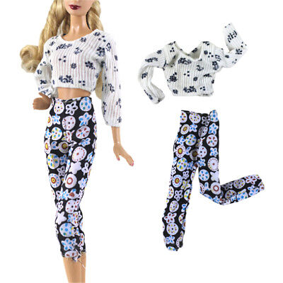 2Pcs/Set Handmade Fashion Doll Clothes Suit for Barbie Doll Party Daily Clothes|