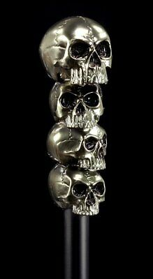 Walking Stick with Skulls - Gothic Accessory Fantasy Carnival Festival