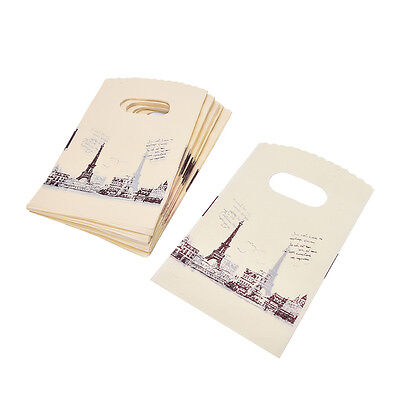 100pcs Yellow Eiffel Tower Packaging Bags Plastic Shopping Bags With Handle MD