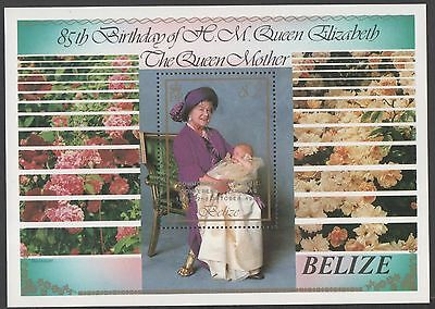 Belize.  1985 The 85th Anniversary of the Birth of Queen Mother. Minisheet. MNH
