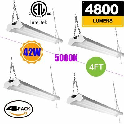4PCS OOOLED LED Shop light,4FT(4pack),42W 4800LM 5000K Daylight White, With SK