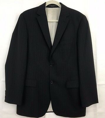 6e7a67ee9 Hugo Boss Black 100% Virgin Wool Two Button Pinstriped Blazer Jacket Coat  38R