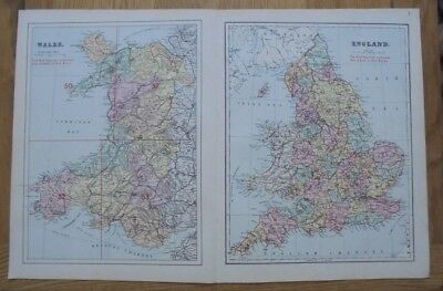 1884 Original Map of  WALES and ENGLAND G.W. Bacon