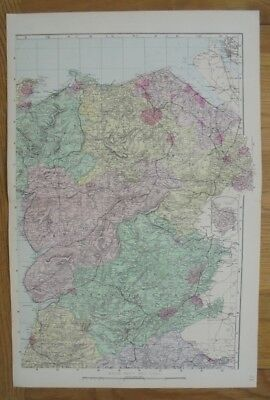 Antique 1884 Original Large Scale Map of WALES NORTHEAST G.W. Bacon