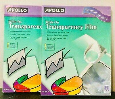 Two(2) Apollo Write-On Transparency Film 8.5 x 11,Clear,300 Sheets-Free Shipping