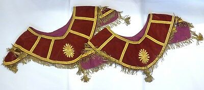Antique Red Velvet & Gold Thread Sacred Heart Embroidered Pair of Collars