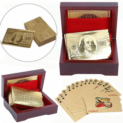 24K Carat Pure Gold Plated Foil Poker Playing Cards With Wooden Box Party US