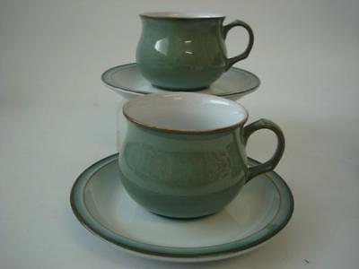 Denby Regency Green 2 X Cups And Saucers