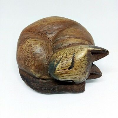 OLD handcrafts carving wooden doll animal shape sleeping cat style folk art gift