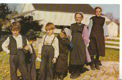 """Religion Postcard -""""Heart of Amishland"""" - Frolicking Amish Children - Ref 553A"""