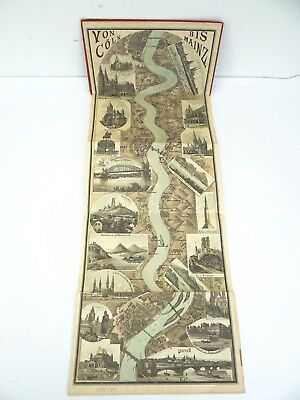Antique Panorama of the Rhein Rhine Mainz-Coln England Germany Colored Maps