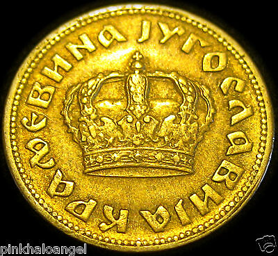 Yugoslavia 1938 Gold Colored 50 Para Great Coin Kingdom of Serbia Croat Slovenes