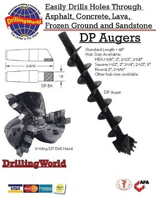 "Rock Auger DP Style 6"" X 4' with 2"" Hex , 2"" Round or 2-9/16"" Round Drive"