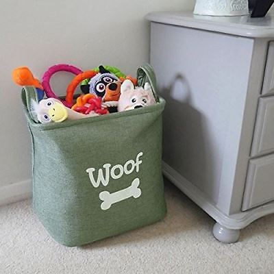 Rosewood Forest Canvas Pet Dog Toy Storage Box Basket Bag Tub Holder NEW  Woof