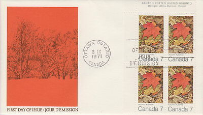 Canada #537 7¢ Maple Leaves In Autumn Ul Plate Block First Day Cover