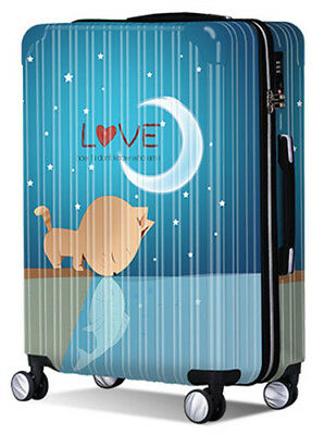 Cute Blue Cat Lock Universal Wheel Travel Suitcase Trolley Bag Luggage 24 Inches
