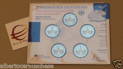 5 x 2 euro 2016 fdc UNC Germania Allemagne Alemania Dresder Zwinger Dresda 10