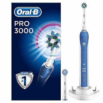 Oral-B Pro 3000 CrossAction Electric Toothbrush Rechargeable 2 Heads Included