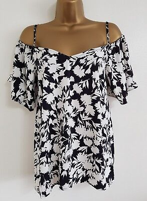 NEW River Island 6-16 Black One Shoulder Ruffle Tunic Top Blouse Party Evening