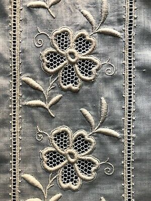 Vintage embroidered lace wide insertion yardage SEW CRAFT COSTUME