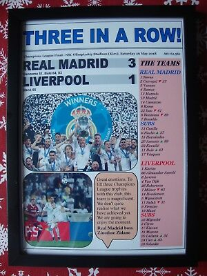 Real Madrid 3 Liverpool 1 - 2018 Champions League final - framed print