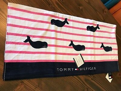"""TOMMY HILFIGER WHITE & PINK, BLUE AND WHITE W/ WHALES BEACH TOWEL 35""""x66"""""""