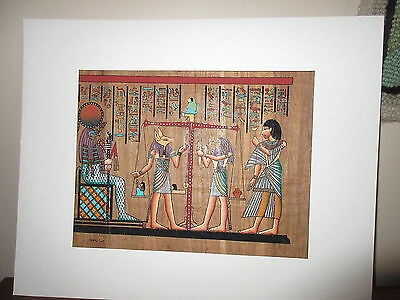 Pharonic Egyptian Egypt Art on Papyrus Paper Royal Tomb 11 by 15 Signed #2