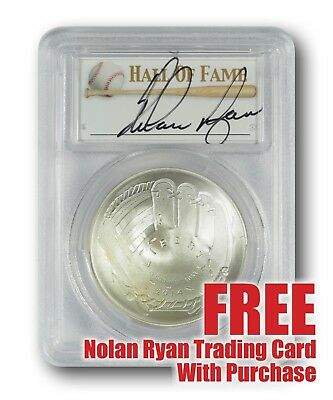 2014-P Baseball HOF Silver $1 -- PCGS MS69 -- Hand Signed By Nolan Ryan