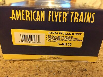 Scarce American Flyer Santa Fe ALCO B Unit W/Railsounds New In Box Never Used