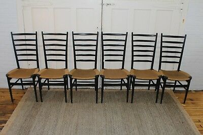6 Gio Ponti Style Italian Mid Century Ladder Back/Rope Dining Chairs