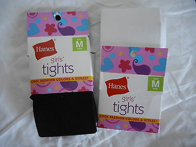 Girls Hanes Footed Tights  2 Pair Size Medium  NEW 55-70 LBS.  Black & White