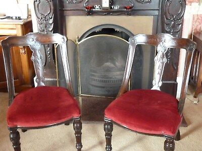 Pair Of Victorian Balloon Back Chairs Reupholstered Antique