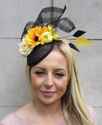 Black Yellow Sinamay Rose Flower Feather Hat Fascinator Races Wedding Hair 5869