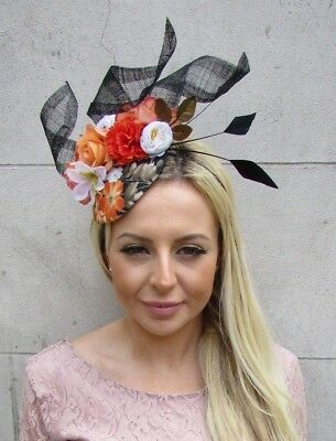 Black Orange White Floral Rose Flower Feather Hat Fascinator Races Wedding 5870